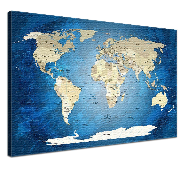 "LANA KK - Weltkarte Leinwandbild mit Korkrückwand zum zum zum pinnen der Reiseziele – ""World Map Blau Ocean  - italienisch - Kunstdruck-Pinnwand Globus in blau, einteilig & fertig gerahmt in 120x80cm e7628d"