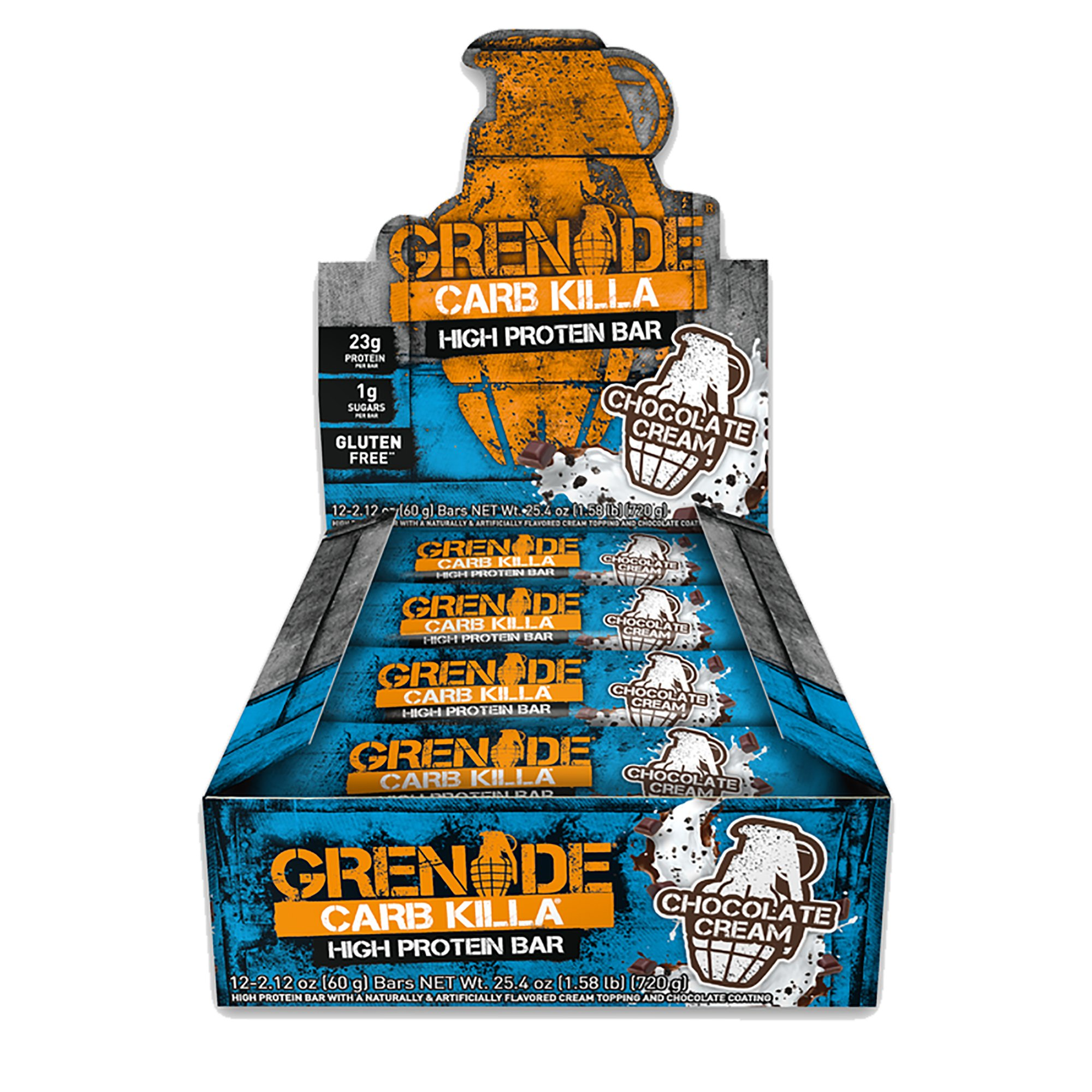 Grenade Carb Killa Protein Bar, Great Tasting High Protein and Low Carb Snack, Chocolate Cream, (Pack of 12) 2.12 oz each