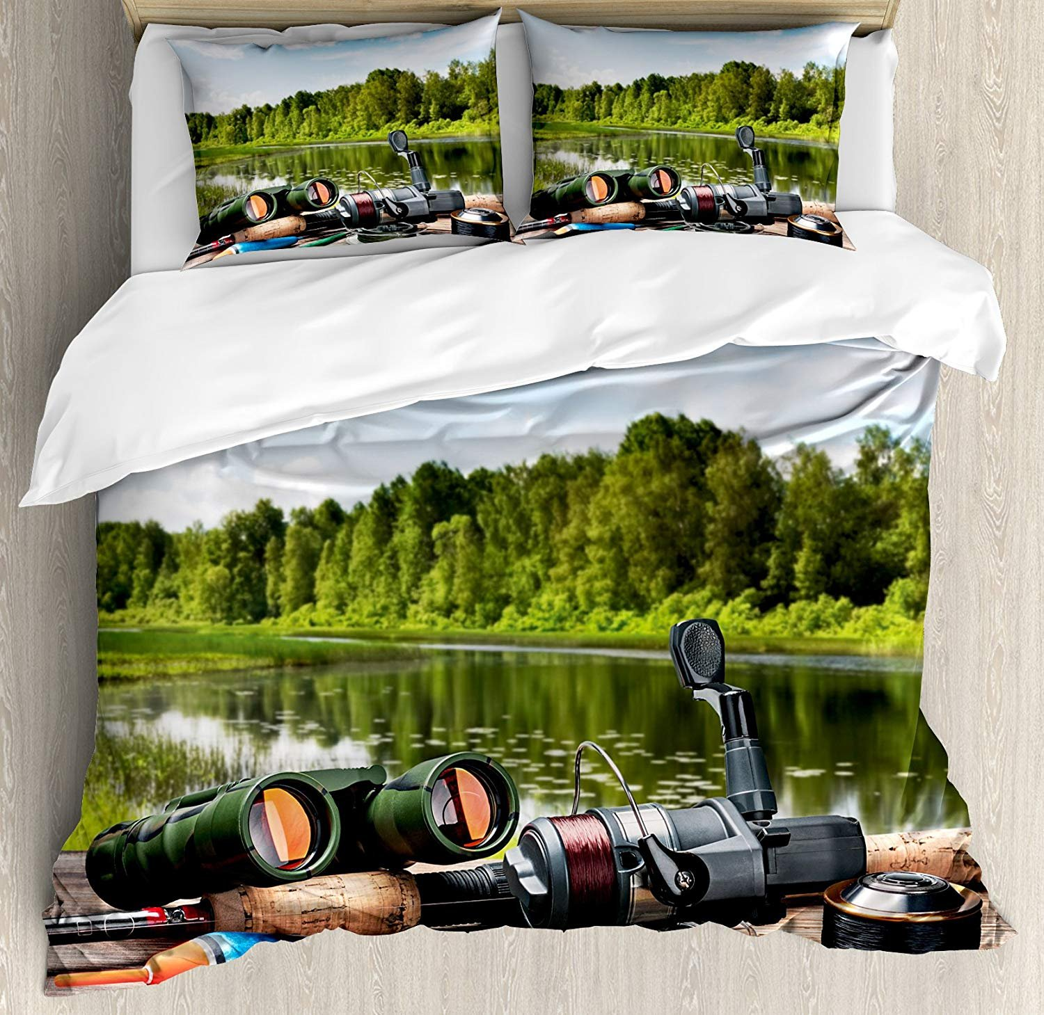 Hunting Decor Twin Duvet Cover Sets 4 Piece Bedding Set Bedspread with 2 Pillow Sham, Flat Sheet for Adult/Kids/Teens, Fishing Tackle on a Pontoon Lake in the Woods Trees Greenery Freshwater Hobby