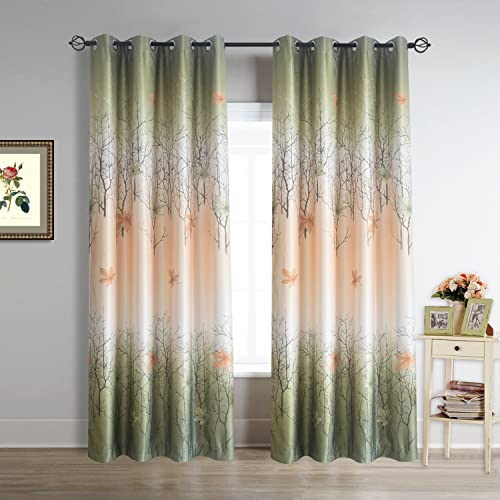 Cherry Home Green Maple Leaf Room Darkening Blackout Curtains Drapes Grommet 52W 96L Inch,1 Panels for Bedroom