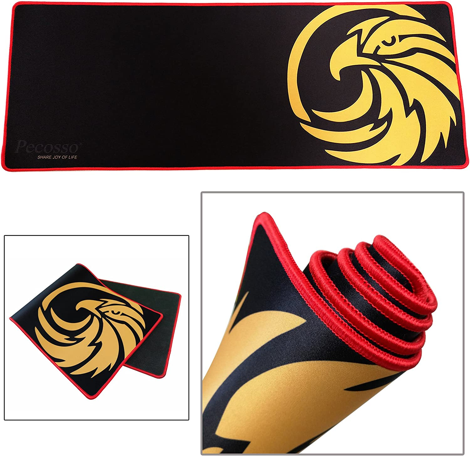 Extended Gaming Mouse Pad : Pecosso Keyboard Pad Stitched Edges Non-Slip Rubber Pads /& Precise Tracking Black /& Red Smooth Surface Mat XXL Size 31.5/×11.8 -
