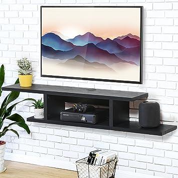 FITUEYES Madera Mesa Flotante para TV Soporte de Pared 126 x ...