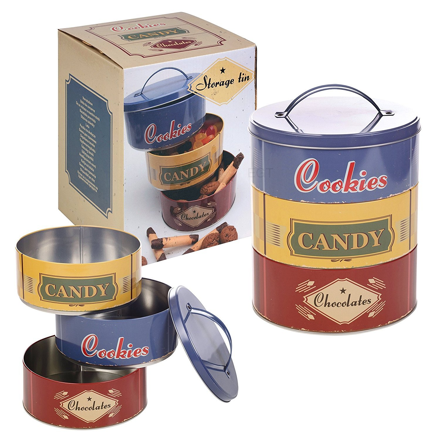 Cookies, Candy & Chocolates Tins - Set of 3 EG Homeware