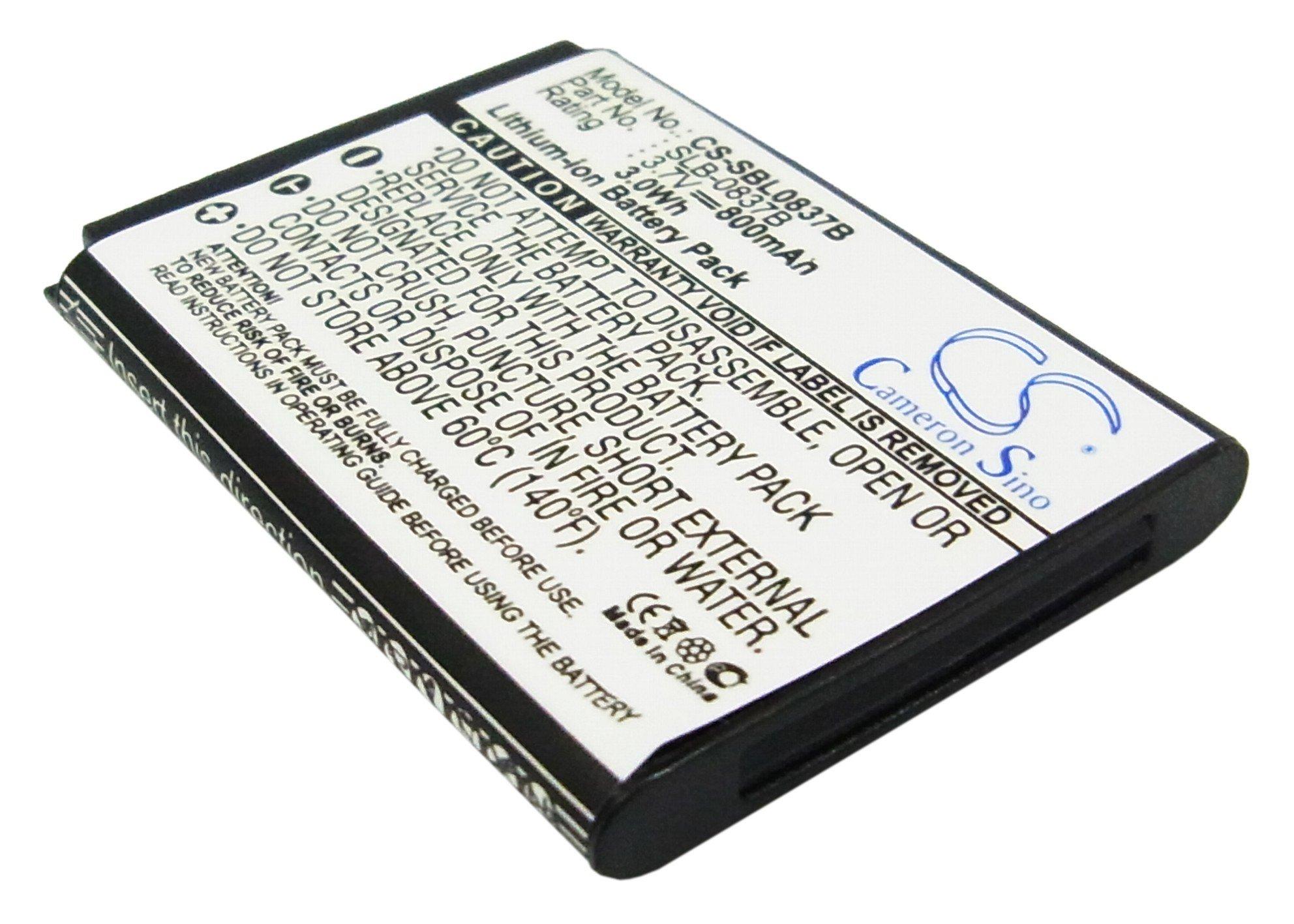 800mAh Battery For SAMSUNG SLB-0837B, SLB-0837(B)