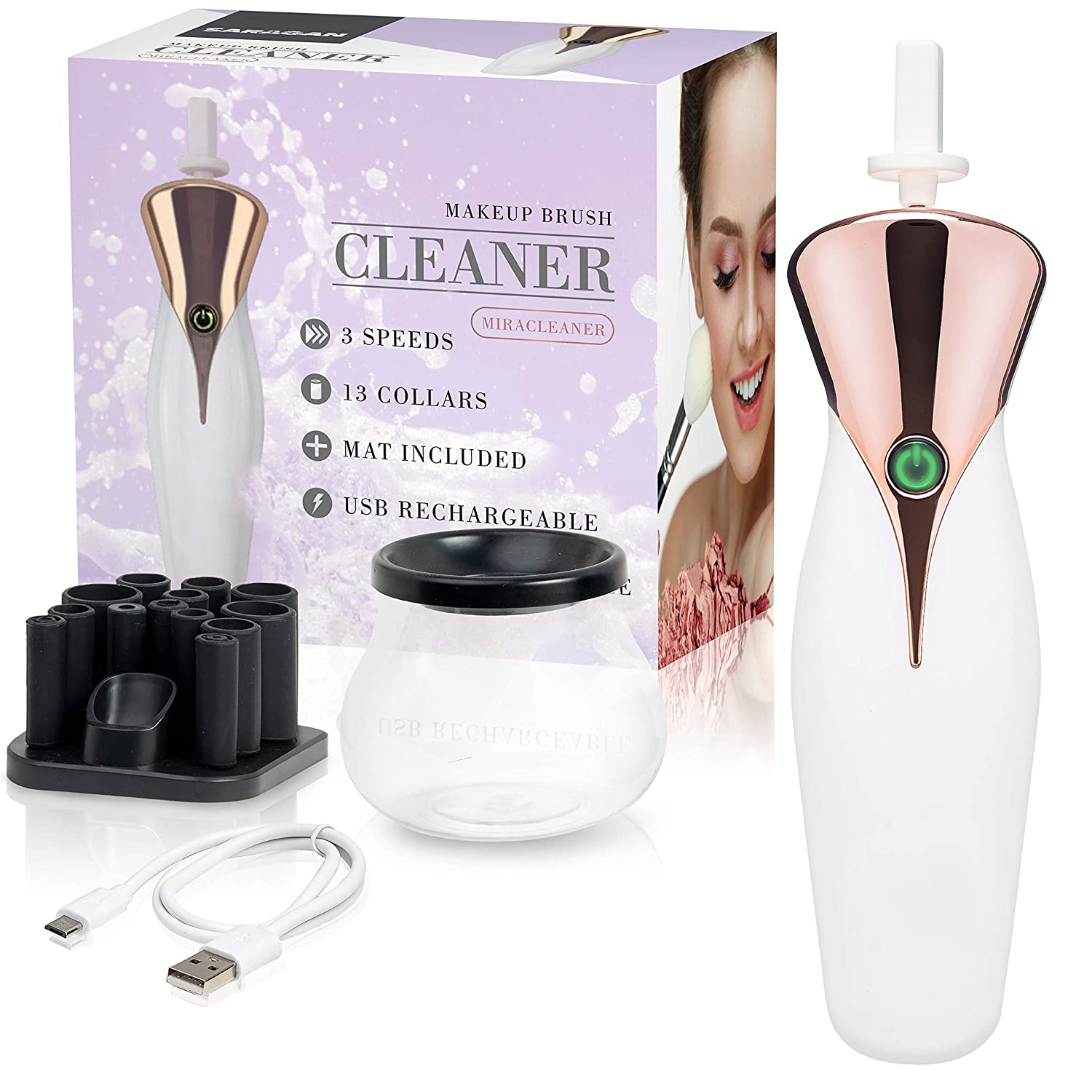 Pro Makeup Brush Cleaner & Dryer Kit - The Best Professional Makeup Brush Cleaning Tool: Washing and Drying All Cosmetic MakeUp Brushes - 3 Speeds, 13 Collars - Natural Cleaning Solution - By Saragan