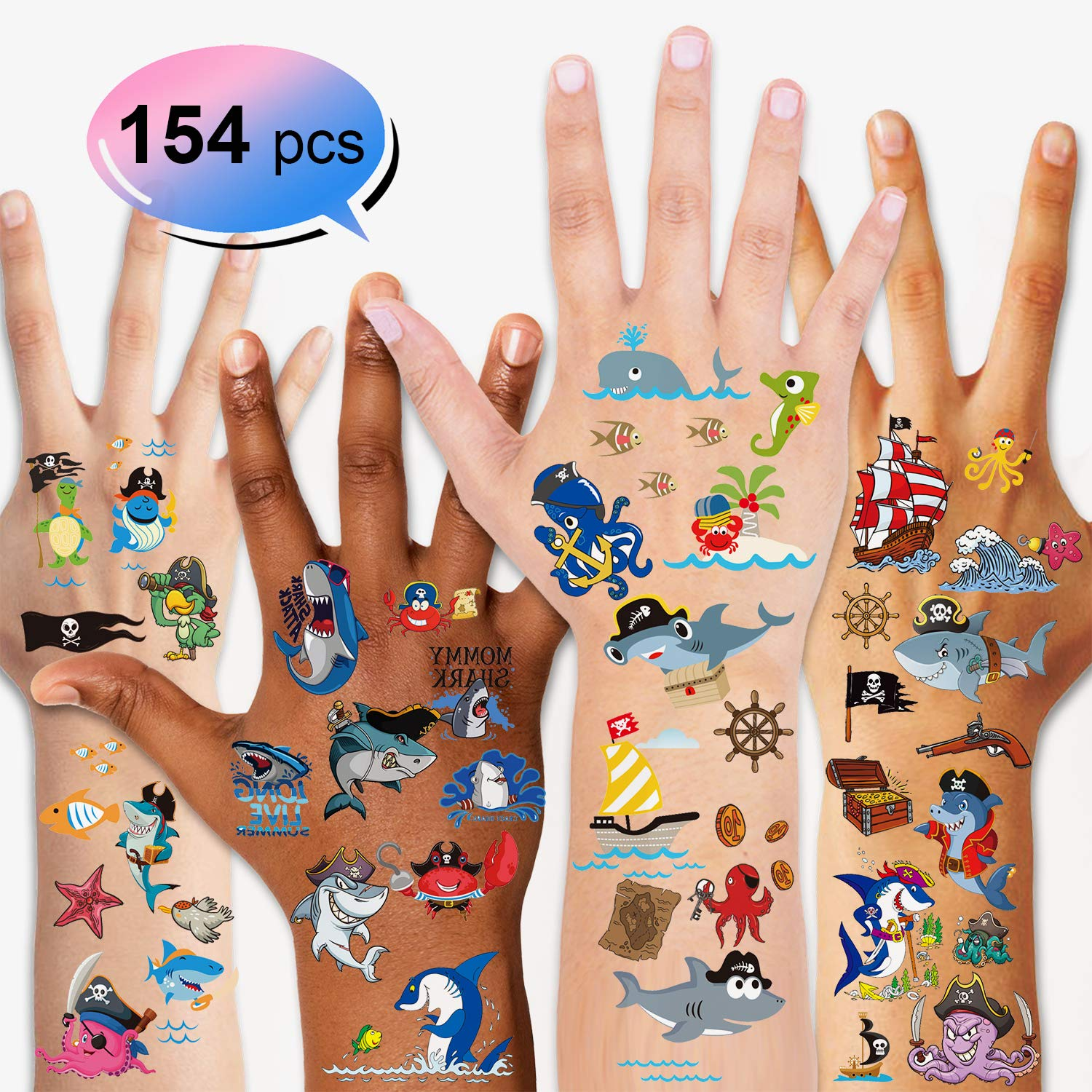 Konsait 154pcs Shark Temporary Tattoos Shark Tattoo Body Stickers Costume Accessories for Ocean Sea Shark Themed Baby Shower Birthday Party Favor Supplies Decor for Boy Girls Kids Party Bag Filler