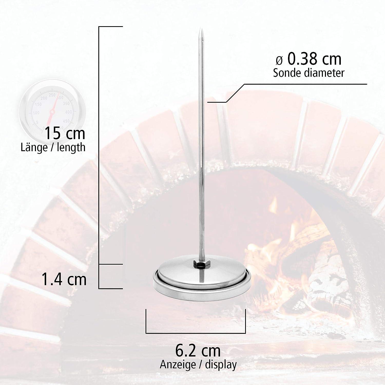 Termometro in Acciaio Inox 500 /°C con Cono in Ottone per Il Fissaggio al Barbecue Lantelme BBQ 7819 sonda da 15 cm