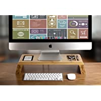 Prosumer's Choice Bamboo Monitor Stand Riser w/Gadget Recess - 18 Inch Width