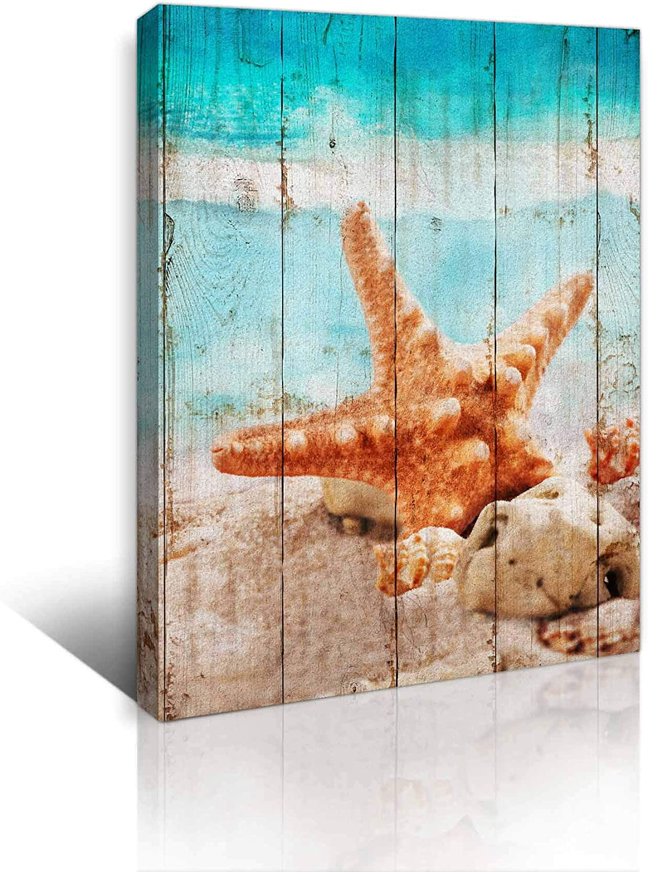 Bathroom Decor Wall Art Beach Pictures Wall Decor Ocean Canvas Decor Seashell Starfish Theme Modern Wall Decor for Bedroom Decor Framed Artwork for Home Walls Wooden Board Wall Decoration Size 12x16