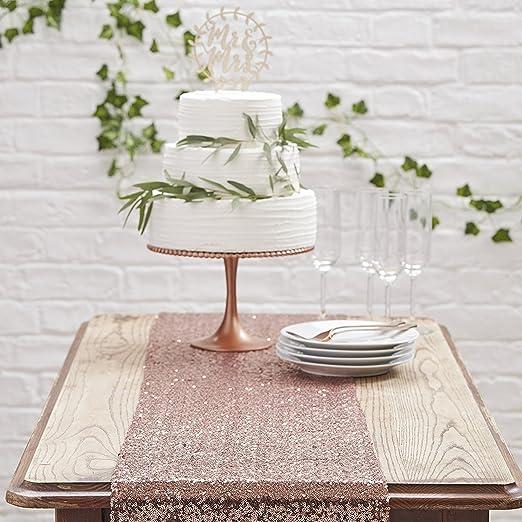 Camino de mesa en oro rosa/cobre de abalorios Lentejuelas – Ancho ...