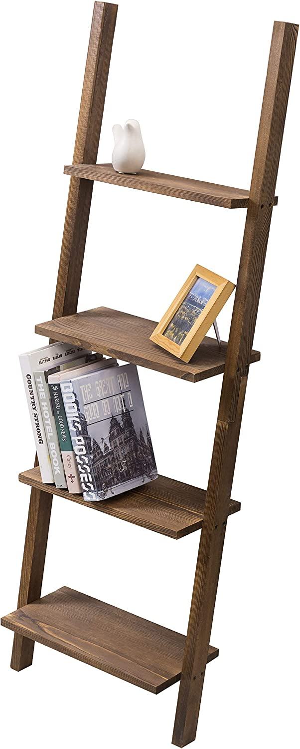 MyGift 4-Tier Burnt Wood Decorative Wall-Leaning Ladder Shelves