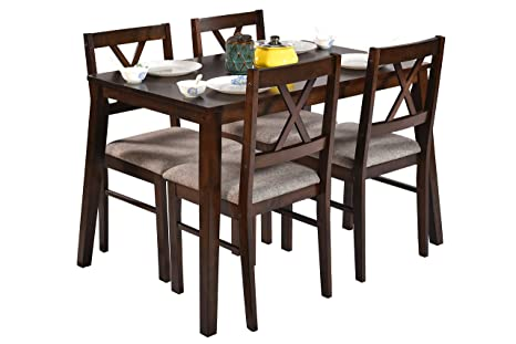 Deckup Barbados Four Seater Dining Table Set Rubber Wood Wenge