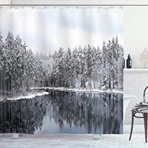 Ambesonne Woodland Shower Curtain, Lake Surrounded by Snow Covered Trees on a Cold Winter Day in Finland Reflections, Cloth Fabric Bathroom Decor Set with Hooks, 70