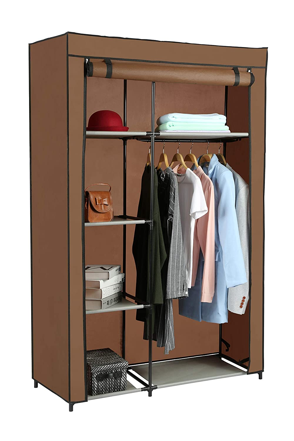 Home-Like Non-Woven Canvas Wardrobe Cloth Closet Bedroom Wardrobes Portable Wardrobe for Bedroom Storage Organizer with Hanging Rail Temporary Wardrobe for Dorm Apartment Black Color106x45x166cm (Black)