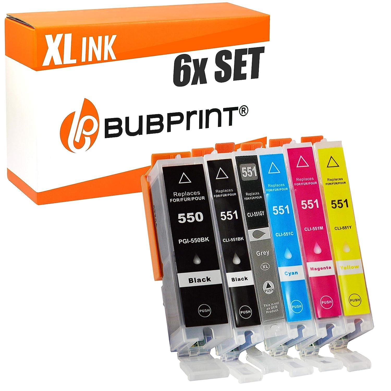 Bubprint 6 Cartuchos de Tinta Compatible con Canon PGI-550 CLI-551 ...