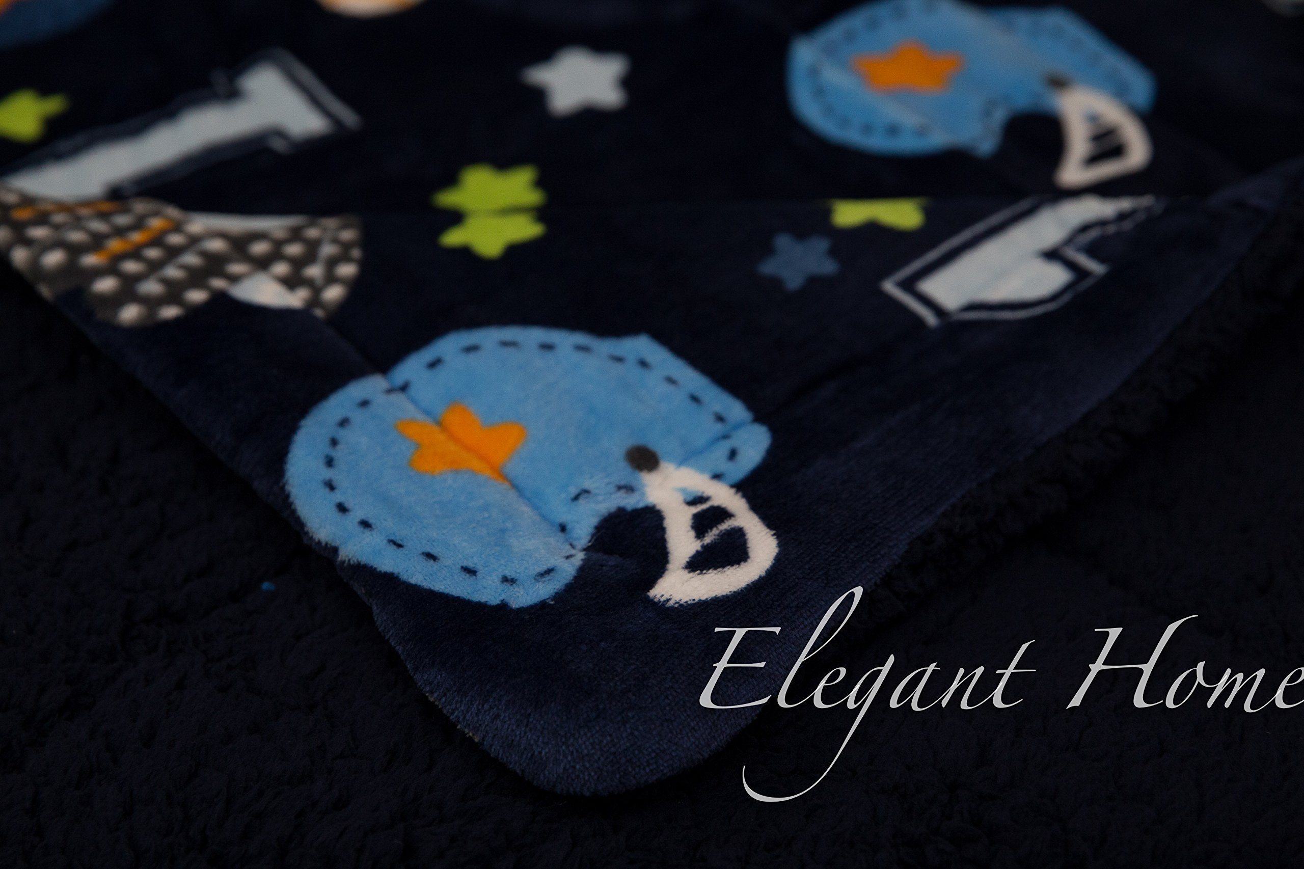 Elegant Home Kids Soft & Warm Sherpa Baby Toddler Boy Sherpa Blanket Navy Blue Sports Basketball Soccer Baseball Football Multicolor Printed Borrego Stroller or Toddler Bed Blanket Plush Throw 40X50