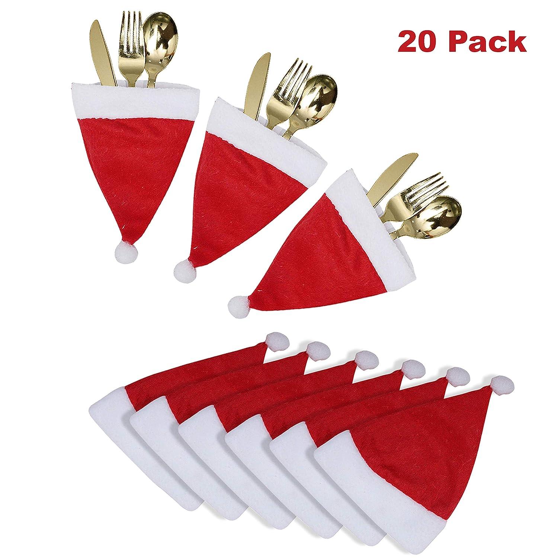 20 Pcs Mini Bonnet de Noel Etui /à Couverts pour D/îners - D/écoration de Table de Noel Portes Couverts Noel D/écorations de Sapin Bouteille de Vin et D/écor de R/éveillon L 14,5 cm x l 11,5 cm