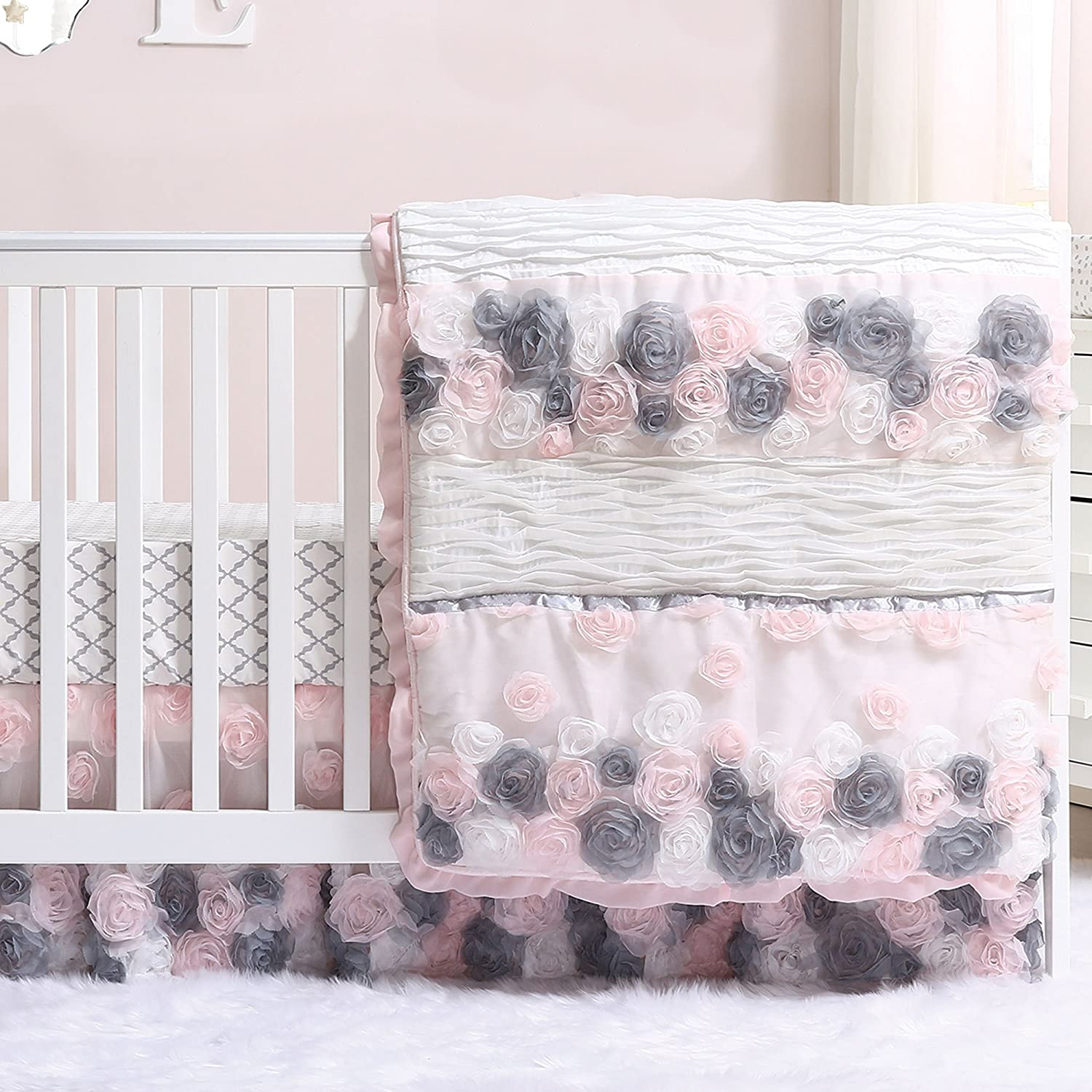 Colette Pink and Grey Floral 3 Piece Crib Bedding Set by The Peanut Shell Farallon Brands FARCOLETTE3