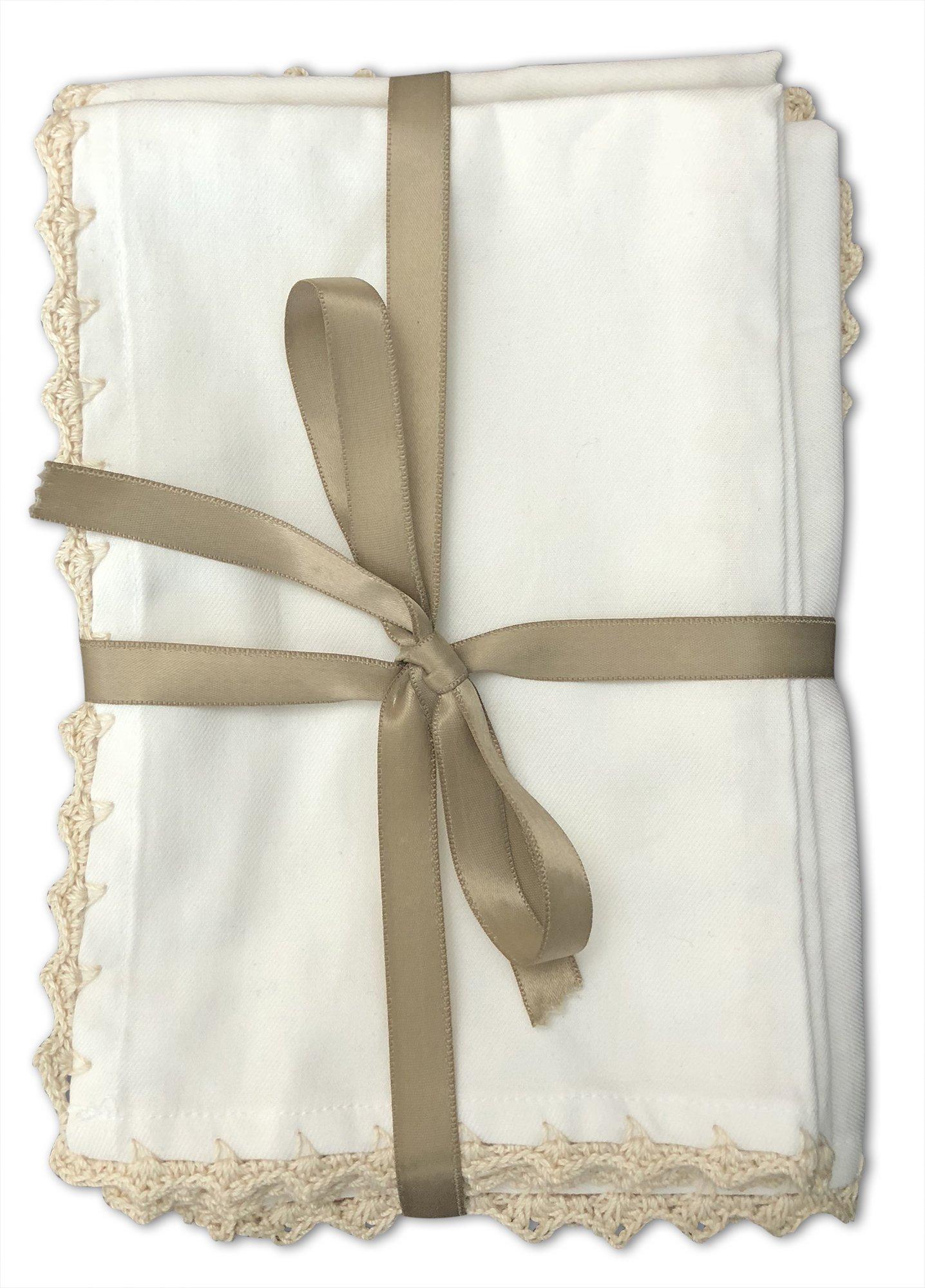 MoLi 100% Egyptian Cotton Cloth Dinner Napkins Hand Crocheted - Set of 6 Pack Lunch Linen - Elegant Decorative Fabric Handmade Table Linens - Servilletas de Tela Wedding Napkin (White) by MoLi (Image #2)