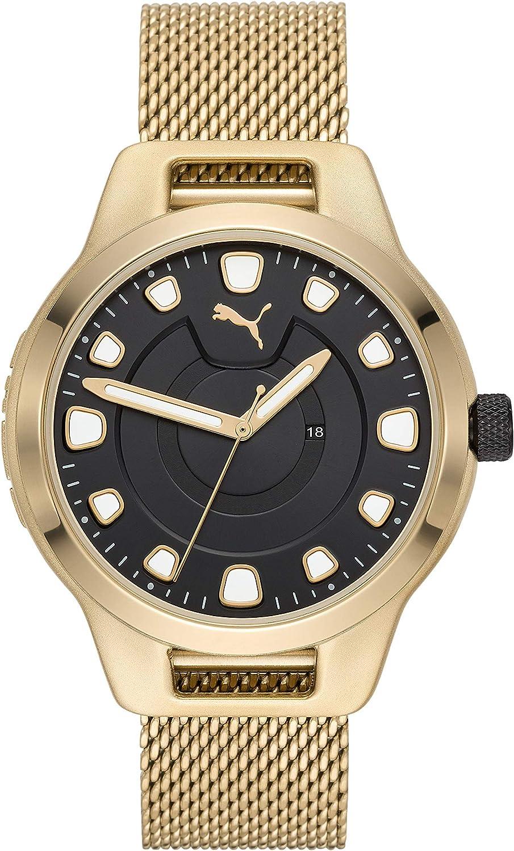 Puma Reset - V1 Reloj Dorado con Correa de Acero Inoxidable para Hombres y Esfera Negra - P5006