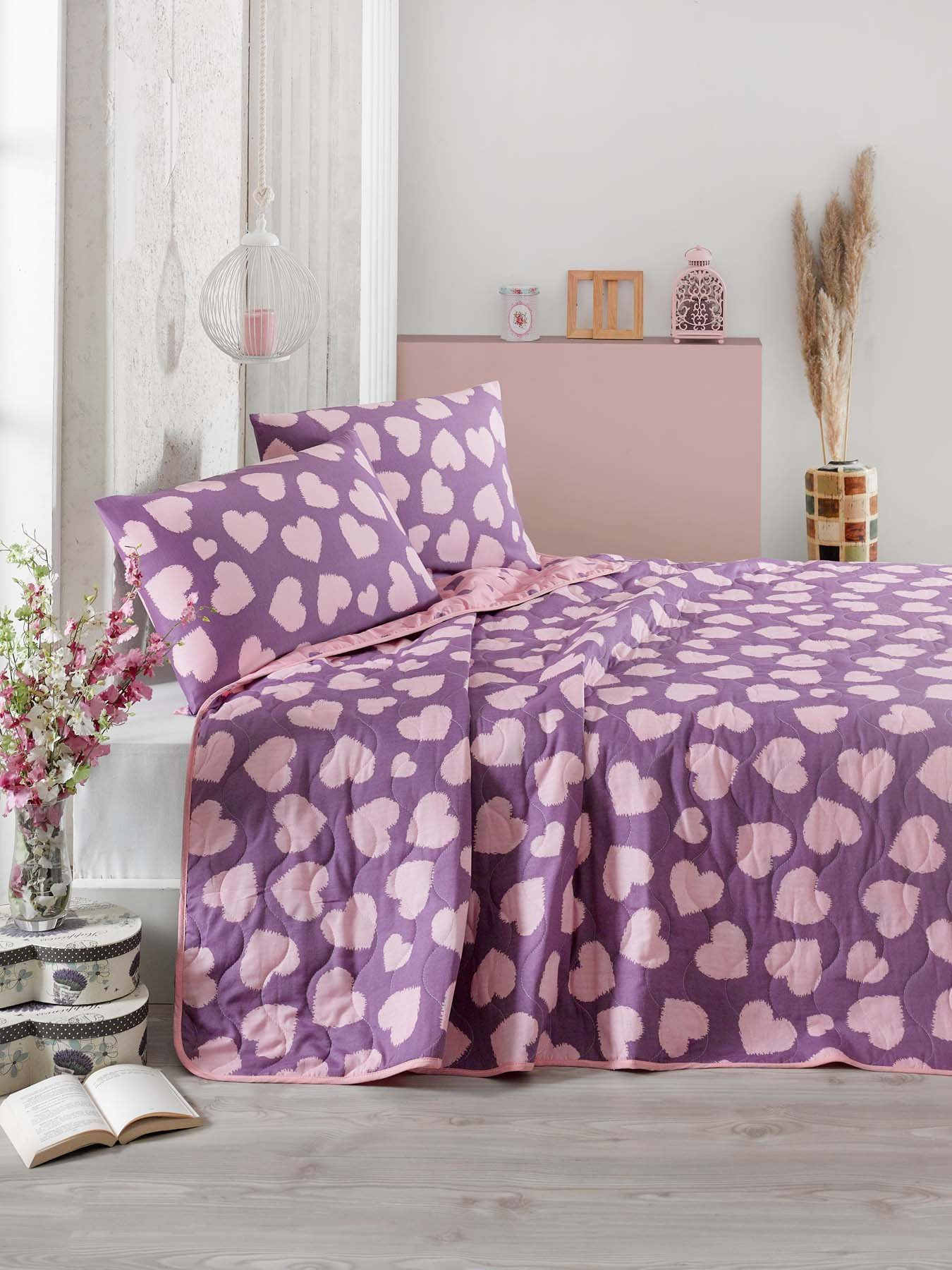 2 Pcs Twin and Single Bedroom Bedding Soft Colored [65% Cotton 35% Polyester (Cover)] / 100% FIBER (Filling) / Single Quilted Bedspread Set Soft Relaxed Comfortable Pattern Love Colourful Single Bed