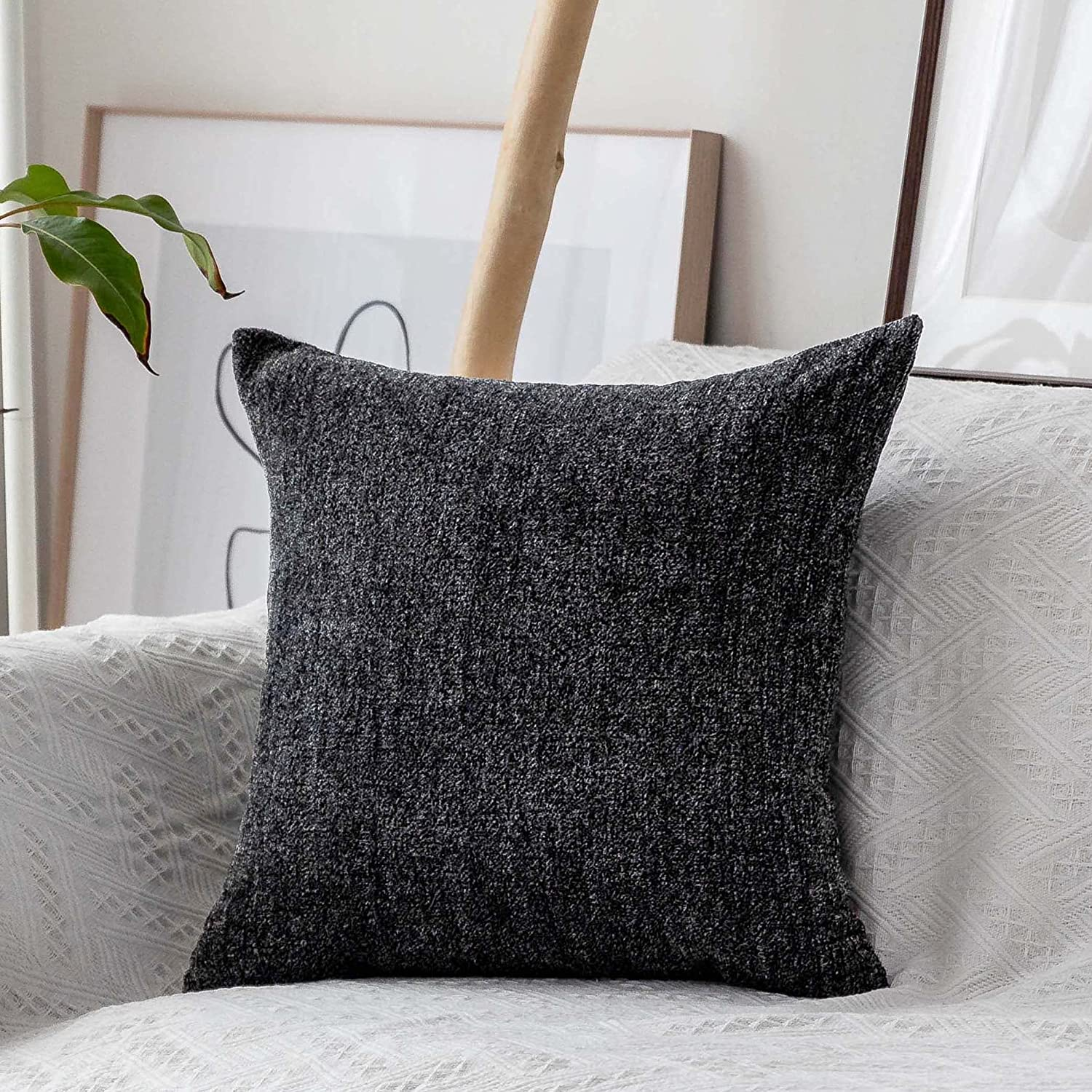 Home Brilliant Pillow Covers 26x26 Large Cushion Cover for Chair Striped Chenille Velvet Plush Euro Pillow Shams Protector, 66cm, Dark Grey