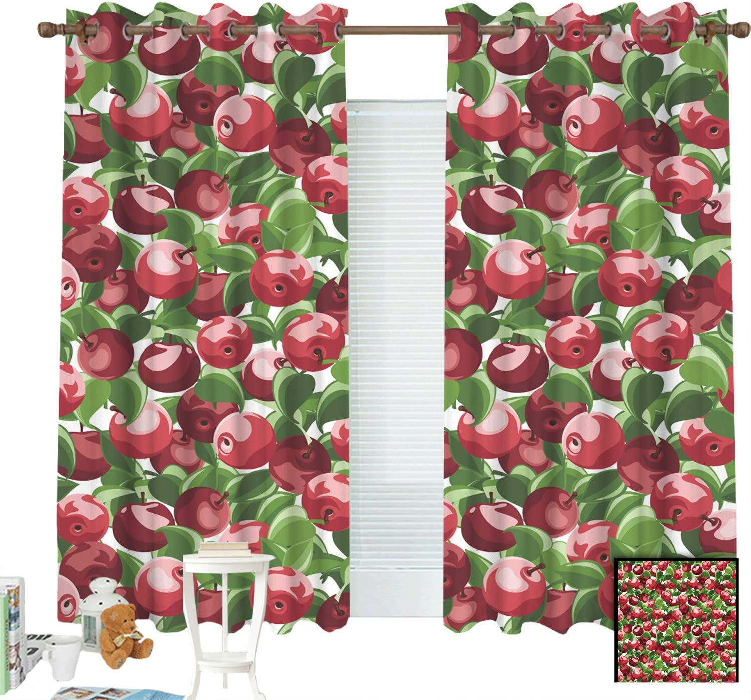ZXAWT Curtains Grommet Top Blackout Curtains Thermal Insulated Curtain for Bedroom and Kitchen Set of 2 Panels(Apple Group Drawing Oil Painting W 107
