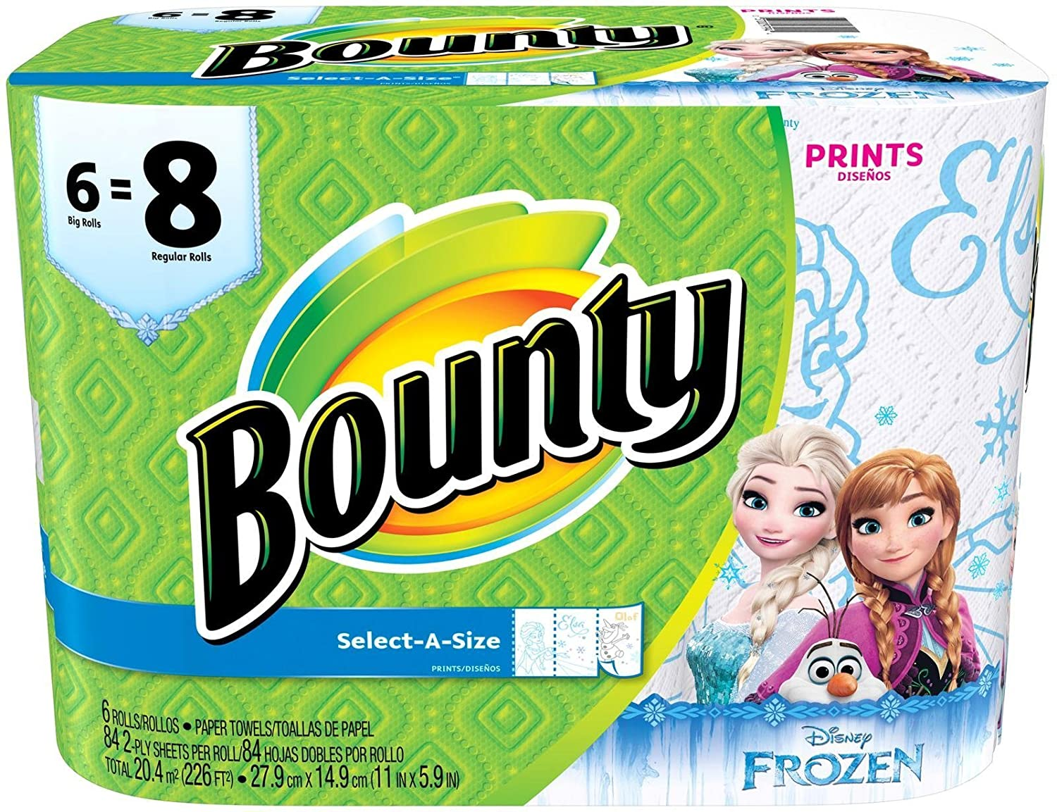 Amazon.com: Bounty Select-a-size Paper Towels, Disney Frozen Print, Big Rolls, 6 Count: Health & Personal Care