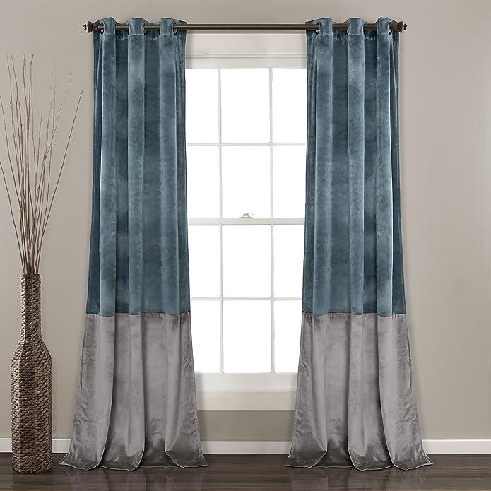 Prima Velvet Color Block Room Darkening Window Curtain Slate Blue/Gray Set 38X84 - Lush Décor