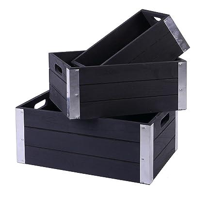 SLPR Decorative Storage Wooden Crates With Metal Trims (Set Of 3, Antique  Black)