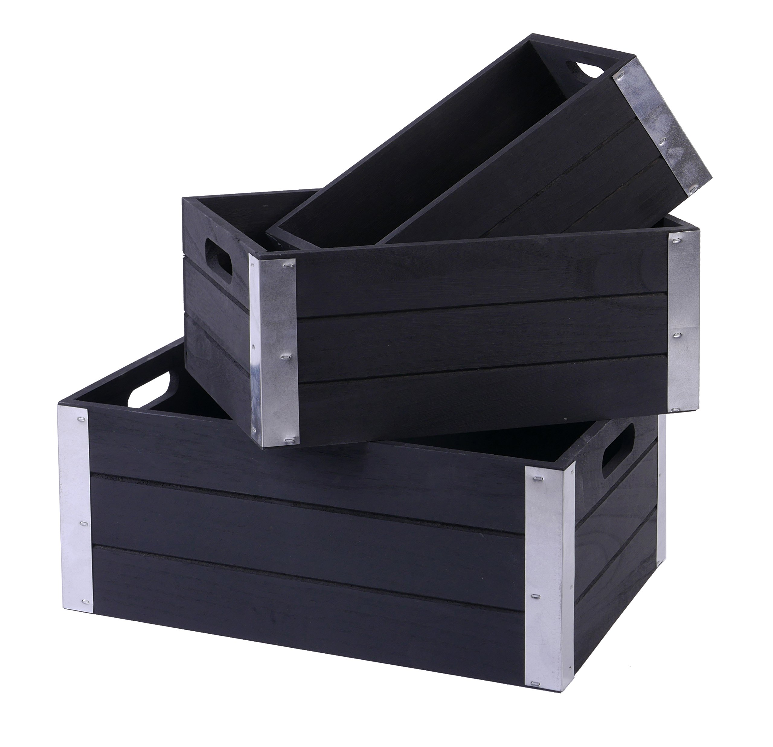 SLPR Decorative Storage Wooden Crates with Metal Trims (Set of 3, Antique Black) | Perfect for Floral Arrangements Gardening Wedding Vintage Country Chic Rustic Style