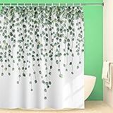 Maccyafst Eucalyptus Shower Curtain Green Leaves Shower Curtain Watercolor Leaf Shower Curtain Fabric Floral Shower Curtain W
