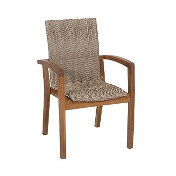 Silla de ratán Svendborg de Ribelli® para balcón, jardín y terraza, silla para jardín con respaldo alto en color marrón, sillón de ratán, reposabrazos ...