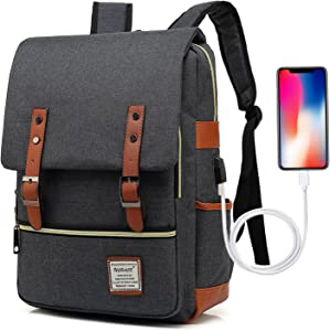 UGRACE Vintage Laptop Backpack with USB Charging Port, Elegant Water Resistant Travelling Backpack Casual Daypacks School Shoulder Bag for Men Women, Fits up to 15.6Inch MacBook in Black