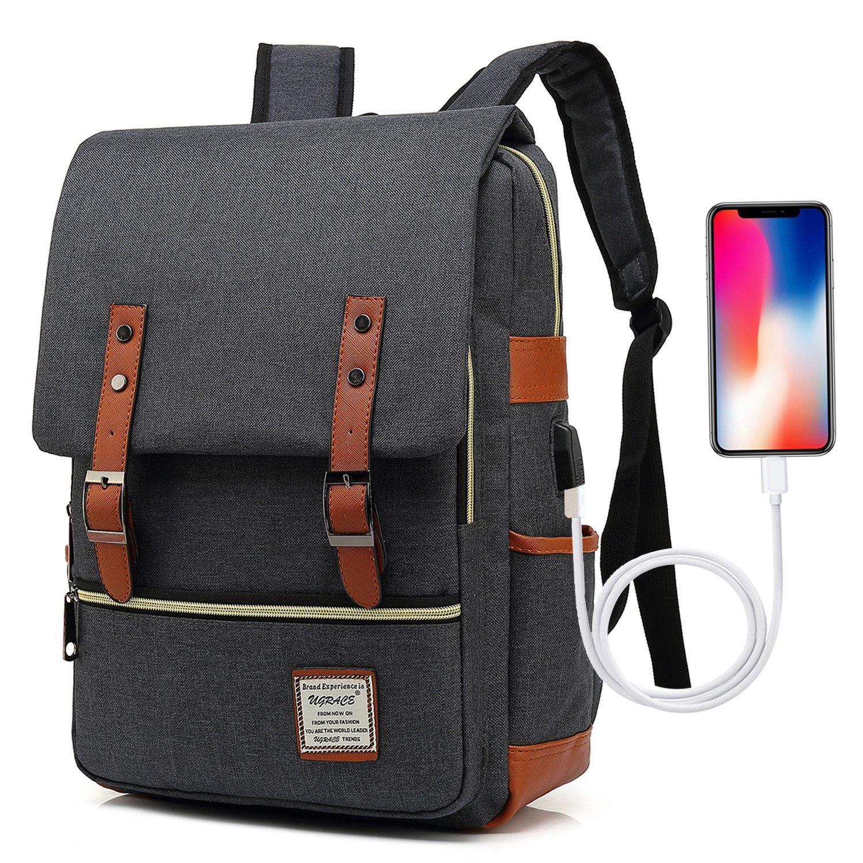 UGRACE Vintage Laptop Backpack with USB Charging Port, Elegant Water Resistant Travelling Backpack Casual Daypacks School Shoulder Bag for Men Women, Fits up to 15.6Inch MacBook in Black by UGRACE