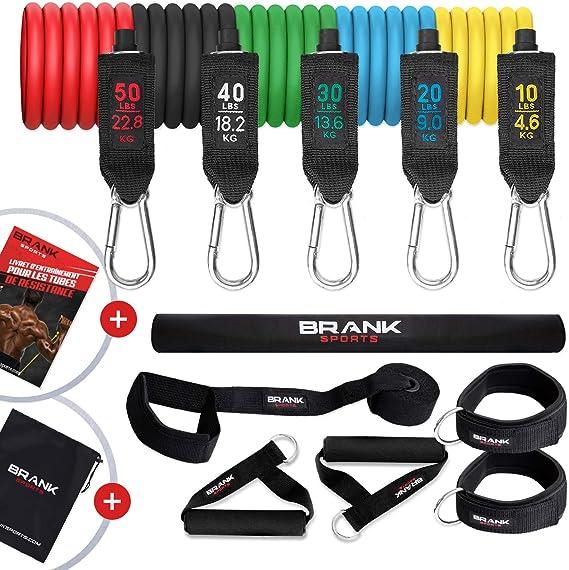 Bandas elasticas musculación con asas | Gomas elasticas fitness de 5 a 70kg libras | Pack de cintas elasticas para ejercicio en casa | Mujer y Hombre | Programa de entrenamiento gratuito
