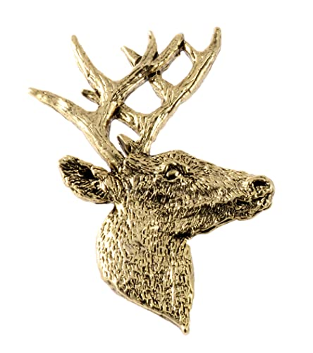 6e46cb5acf0b Creative Pewter Designs, Pewter Whitetail Deer Front Handcrafted Wildlife  Lapel Pin Brooch, 24k Gold Plated, MG007PR: Amazon.ca: Jewelry