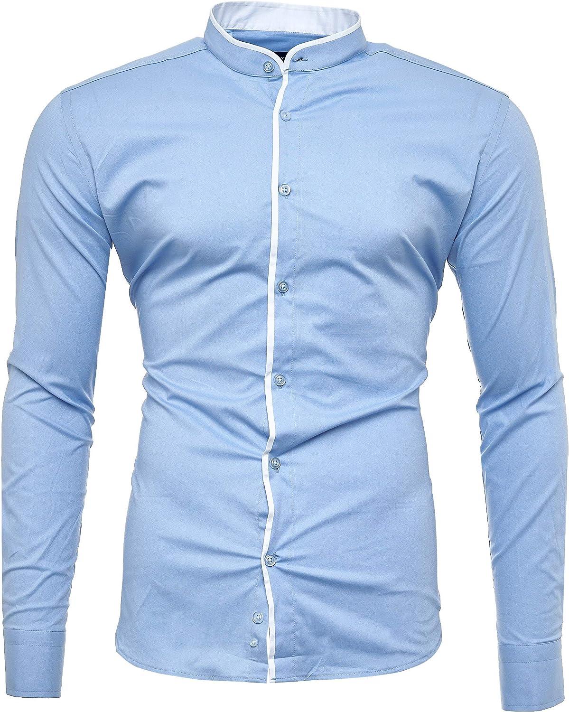 Kayhan Barcelona - Camisa de manga larga para hombre, cuello alto, S-6XL azul claro M: Amazon.es: Ropa y accesorios