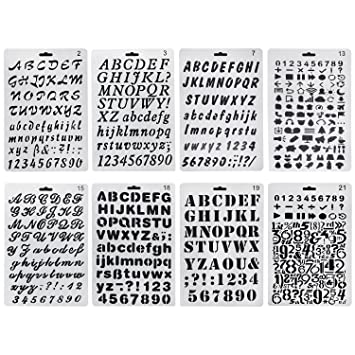 HBlife Plastic Alphabet Letter Number Bullet Journal Stencil Template Set Of 8 Drawing Painting Stencils