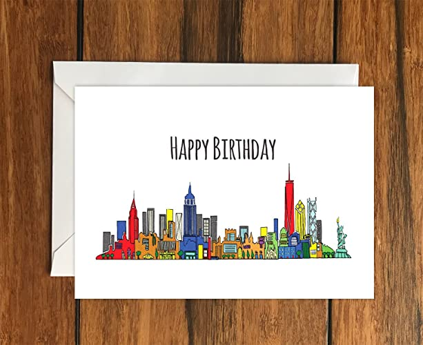 Happy Birthday New York Blank Greeting Card A6 Amazon Handmade