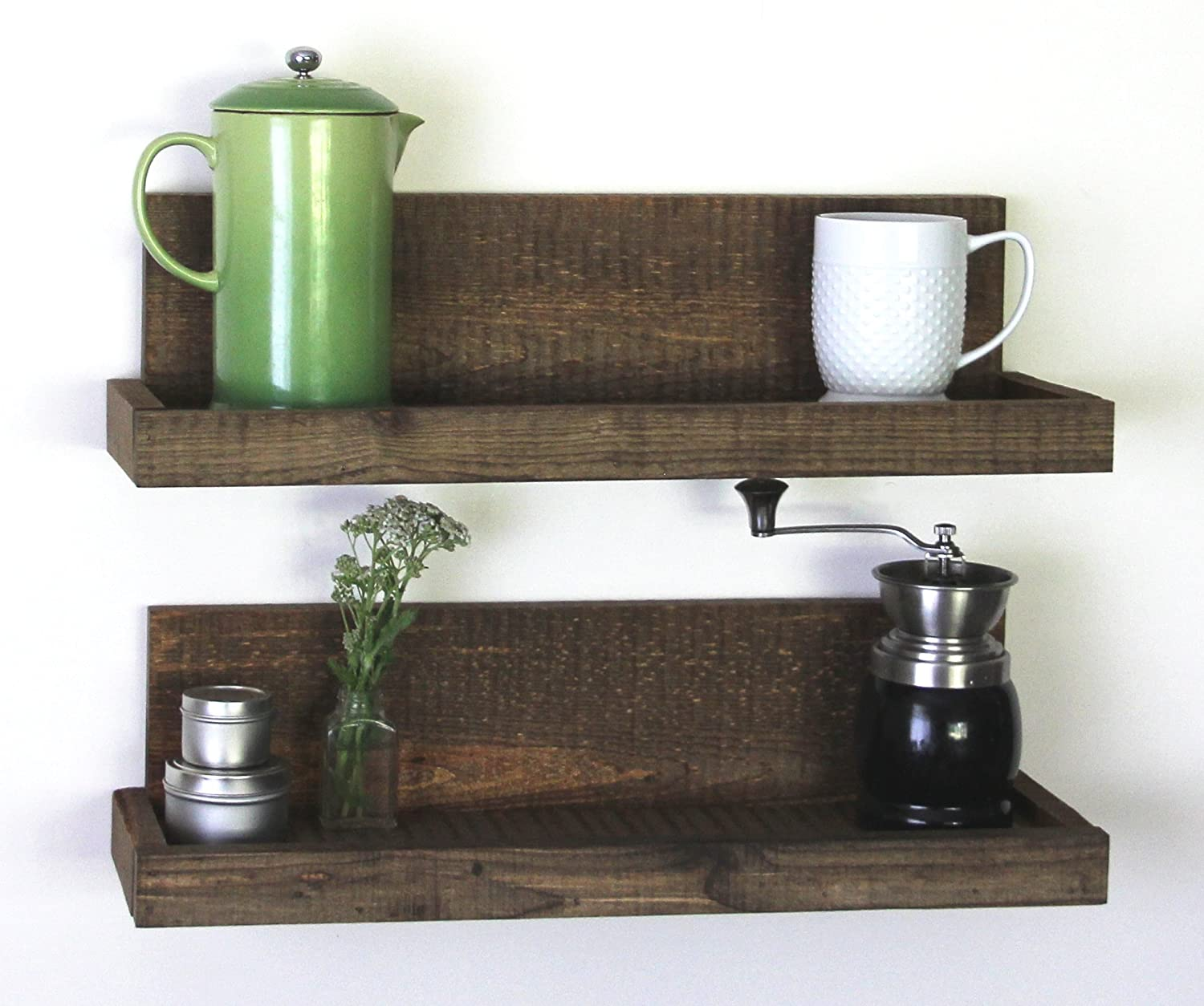 Amazon.com: Reclaimed Rustic Wood Floating Shelves- Shallow Depth- Set of  2- Walnut Finish- Woodland Collection: Home & Kitchen