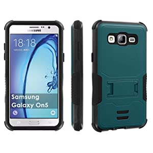 Galaxy [On5] Tough Case [Skinguardz] [Black/Black] ShockProof Armor [Kick Stand] - [Deep Teal] for Samsung Galaxy [On5]