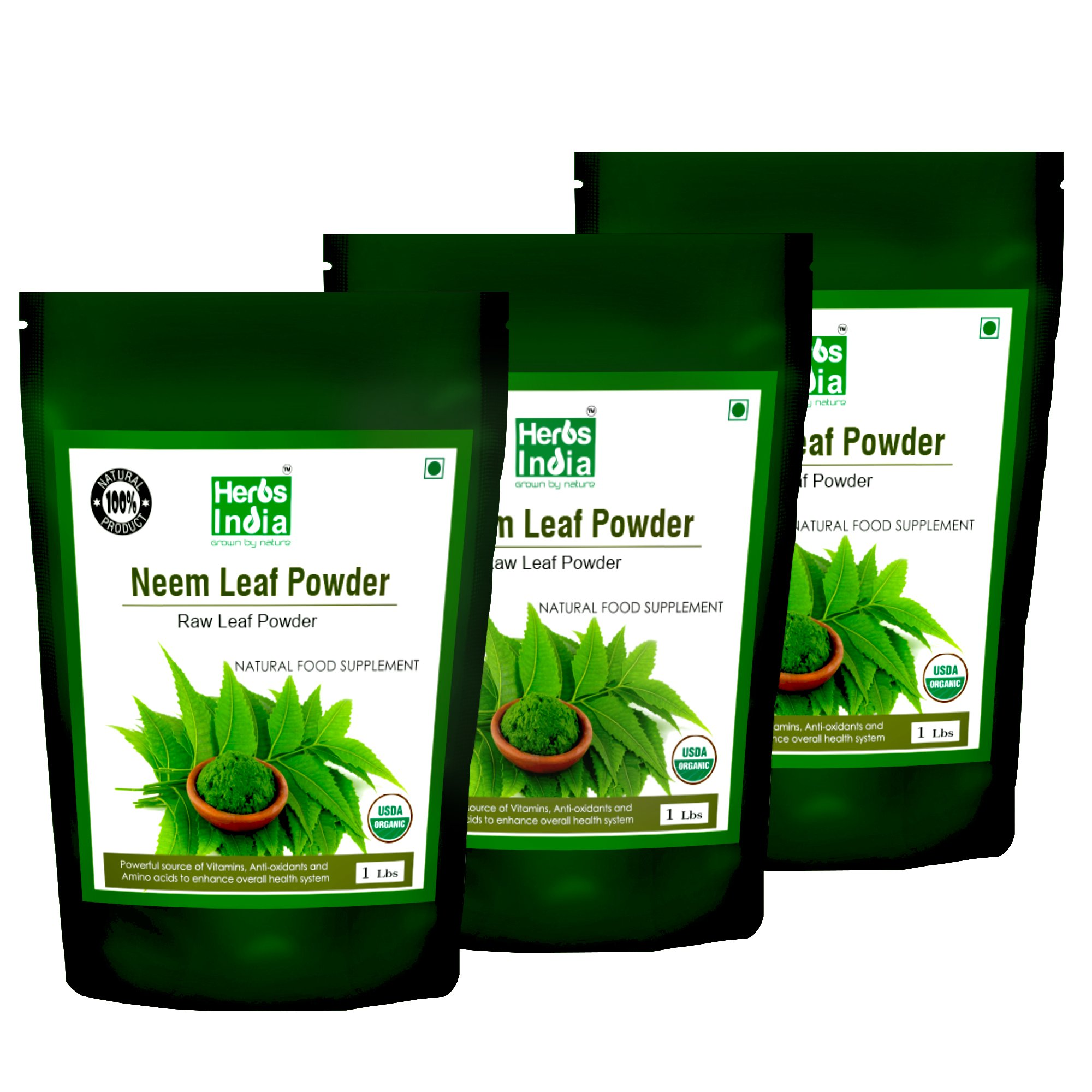 Neem Powder - USDA Certified Organic. No Preservative and all Natural - Herbs India (Pack of 3 X 1 Pound)