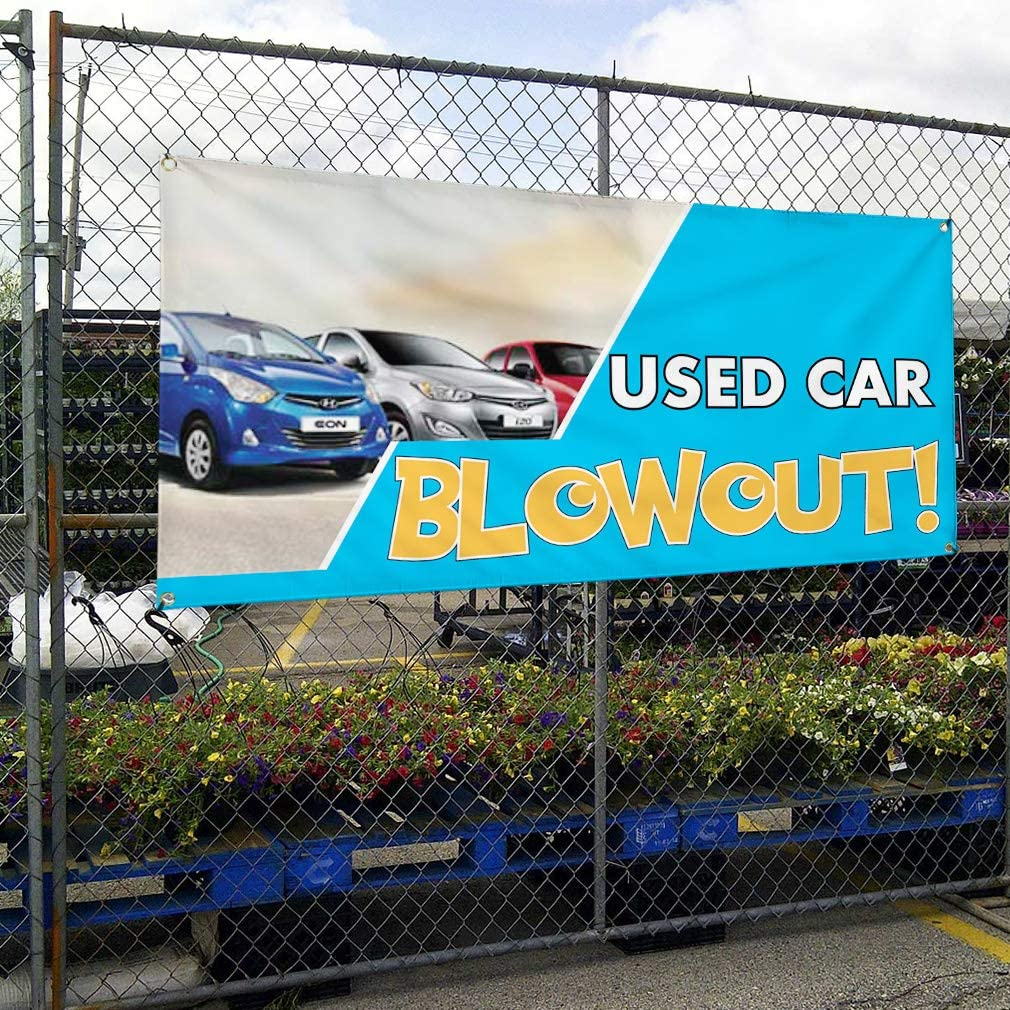 #1 Style A Automotive Marketing Advertising White Multiple Sizes Available 28inx70in Vinyl Banner Sign Used Car Blowout Set of 2 4 Grommets