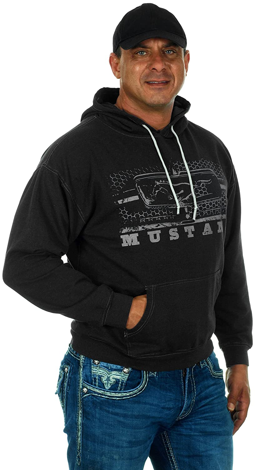 JH Design Mens Ford Mustang Hoodies in 5 Styles with American Flag Sticker