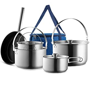 Camping Cookware Set 304 Stainless Steel 8-Piece Pots