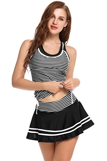 59b982d4e3c luxilooks Tankini Sets Striped Vintage Two Piece Swimsuits for Women Swim  Dress (Black