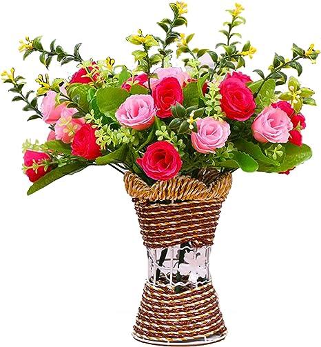 XuanMax K/ünstliche Blumen mit Vase Gef/älschte Roses Blumenstrau/ß Kunstblumen Ornaments Dekorationen zum Zuhause Hochzeit Party Blau