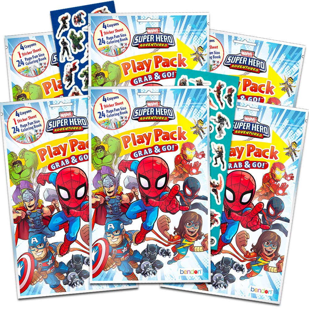 Marvel Super Hero Adventures Party Favors Pack ~ Bundle of 6 Superhero Adventures Play Packs with Stickers and Crayons with Bonus Stickers Super Hero Adventures Party Supplies Coloring Books