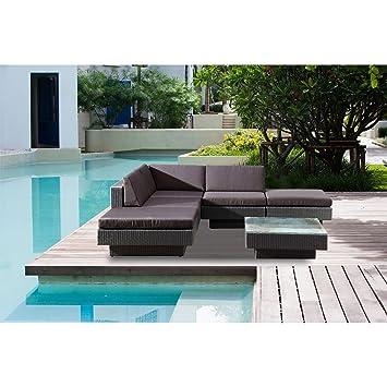 Concept-Usine Amorgos gris : salon de jardin d\'angle en résine 4 ...